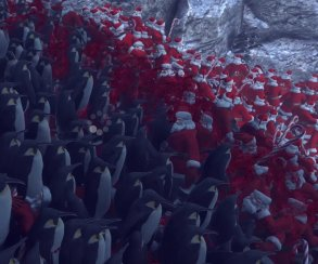 Новогодняя бойня: легион пингвинов против 4000 Санта-Клаусов