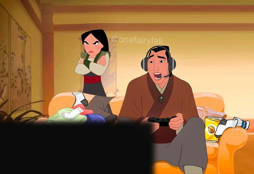 От«Мулан» до«Холодного сердца»: художник показал героев мультиков Disney ссовременными гаджетами